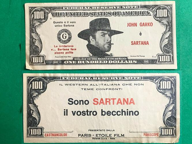 banconota sartana fronteretro
